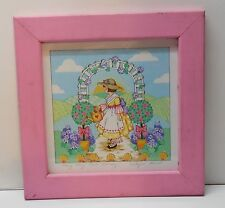 Mary Quite Contrary Pink Wood Frame Girl Garden Flowers Signed Print