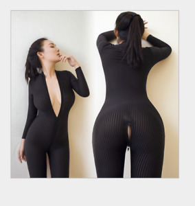 Sexy Long Sleeve Leopard Bodysuit Zipper Jumpsuit Striped Catsuit Cosplay Gifts