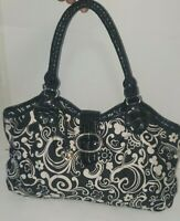 Pre Owned Brighton Black Paisly Flowers LARGE Nylon Purse