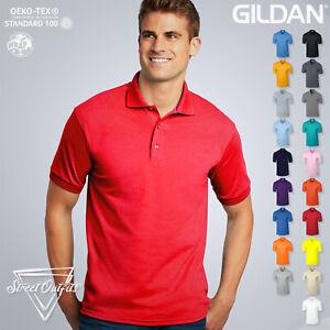 Gildan Mens Polo Shirt DryBlend  Short Sleeve Plain Top Cotton Polyester Jersey
