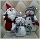 New Fluffy Light Up Snowman Santa Table Xmas Christmas Decoration Warm White LED