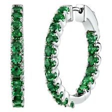 3 Carats Simulated Emerald Gemstone Inside-Out Hoop Earrings in Sterling Silver