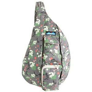 KAVU Rope Bag Crossbody Sling Backpack Cotton Travel Purse - Forest Blossom