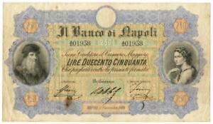 250 LIRE BANCO DI NAPOLI FEDE DI CREDITO 01/11/1869 BB