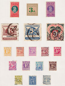 NSW, page of duty stamps, and 3 railway stamps