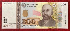 Tajikistan 200 Somoni 2018 ** UNC **