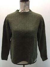 VTG GAP Women Sweater Military Green Crew Neck 100% Lambs Wool Ribbed