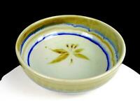 "MARC MATSUI SIGNED NORTHWEST ART POTTERY CRACKLE GLAZE FLORAL 10"" BOWL"