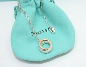 "Tiffany & Co. Silver & Rubedo Metal 1837 Interlocking Circles Necklace 16"""