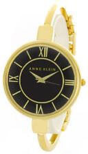 Anne Klein Womens Black Dial Gold Tone Metal Bangle Bracelet Watch AK/1750BKGB