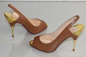 NEW Christian Louboutin TWISTOCHAT 100 Pumps Peep Toe Slingback Brown Shoes 39