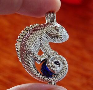 Chameleon Charm Bead Pearl Cage Pendant Bola Angel Caller for Necklace Silver