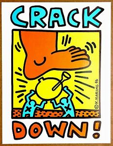Keith Haring  Original  Crack Down  Rare Plate Signed 1986 1st Print Lithograph