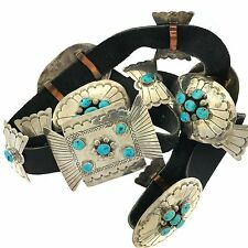 Native American Sterling Silver Kingman Turquoise Stamped Concho Belt