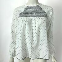 World Market Long Sleeve Cotton Top Embroidered Blouse White Black Women S M NWT