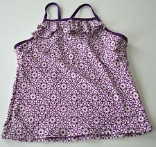 Girls LANDS' END Sz 12 Purple White Floral Ruffle Tankini Swim Suit Top