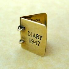 Vintage English 9ct Yellow Gold 1947 Diary Booklet Charm Engraved John to Alice