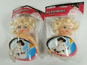 "Set of 2 Fibre Craft Air Freshener Doll Girl Blonde Blue Painted Eyes 5 3/4"" NOS"