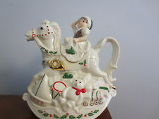 New Without Box Lenox Christmas Elf & Rocking Horse Teapot