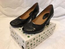 Earthies by Earth The Raynia Womens Black Leather Peep Toe Pumps Heels Size 9.5
