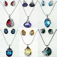 5 Sets Wholesale Jewelry Silver P Austria Crystal Zircon Necklace Earrings Sets