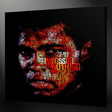 "MUHAMMAD ALI TYPOGRAPHY CANVAS WALL ART PICTURES PRINTS 20"" X 20"" FREE UK P&P"