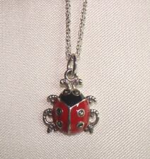 "NEW 925 STERLING SILVER MARCASITE ENAMELED LADYBUG PENDANT & 18"" CHAIN"