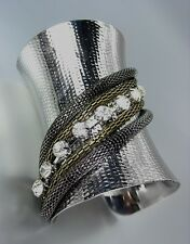 CHIC CHUNKY Silver Antique Hematite Gold Chains Crystals Wide Gladiator Bracelet