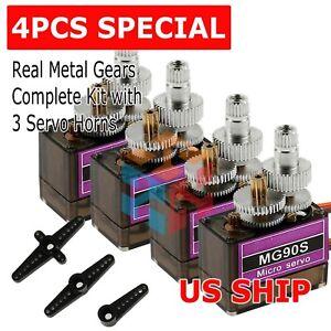 4x Metal Gear 9g MG90S Micro Servo Motor High Speed RC Helicopter Car Racing