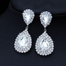 White Rhinestone Elegant Bridal Wedding Pageant Water Drop Earrings + Gift Box