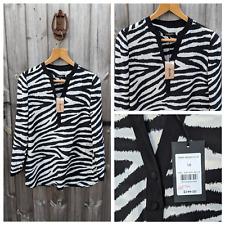Jaeger UK 10 Black & White Blouse Women's Zebra Animal Print Tunic Silk Shirt