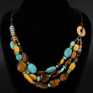 """Sterling Silver - SILPADA Howlite & Tiger's Eye 20.5"""" Layered Necklace - 74.5g"""