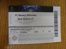 Billete De 17/04/2012: FC Bayern Munich v] [Real Madrid Liga de Campeones (Luz Plegable