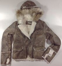 NEW WILDFLOWER Faux Fur Coat Size Small S Taupe Brown Warm Fuz Lined Hood Jacket