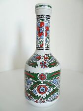 Vintage Metaxa Handmade Floral White Porcelain Bottle 40 Years. Made in Greece