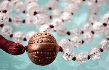 Crystal Quartz & Copper Hand Knotted Mala Beads Necklace - Karma, Nirvana