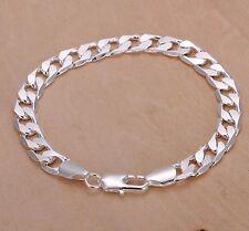 "Men's/Ladies 925 Sterling Silver L/F - 8mm X 8"" Flat Link Bracelet"