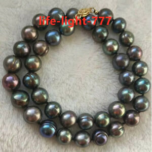 """18"""" AAA+ 9-10MM NATURAL TAHITIAN black green BAROQUE PEARL NECKLACE 14K gold"""