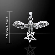 Flying Owl with Pentacle .925 Sterling Silver Pendant Peter Stone