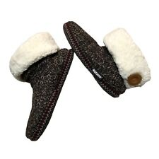 Mukluks Bootie Slipper Size S 5 - 6 Brown Knit Faux Fur Lined Indoor Outdoor EUC