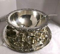 "Vintage Oneida Silversmiths Silverplate (12) Piece Punch Bowl Set & 19""Dia.Tray"