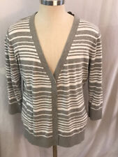 Gap 3/4 Sleeve Grey White Stripe Cardigan Sweater XL