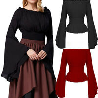 Medieval Renaissance Women Gothic Flare Sleeves Off Shoulder Retro Tops T-Shirt