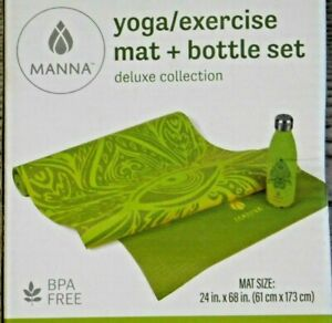 Manna Yoga Exercise Mat 17 oz Bottle Stainless Steel Set Deluxe Collection Green