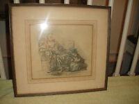 Antique Albertina Facsimile Print Drawing Young Girl Washing Woman's Dress