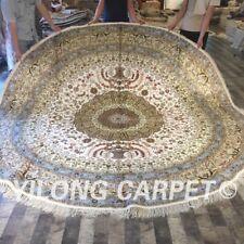 Yilong 10'x10' Big Nice Circle Hand Knotted Silk Carpet Oriental Round Rug W136C