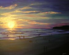 Signed Canvas PRINT of ORIGINAL OIL Painting Beach Surf Sunset