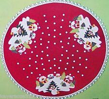 """Bucilla WHITE CHRISTMAS Vintage Felt Tree Skirt Kit~Table Cover Sterilized 45"""""""