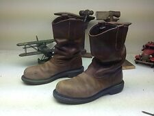 RED WING DISTRESSED BROWN LEATHER USA STEEL TOE ENGINEER OIL RIG BOOTS 8.5 D