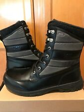NEW UGG Men Wynton Waterproof Leather Canvas Winter Boots 1003352 Black 13 AS IS